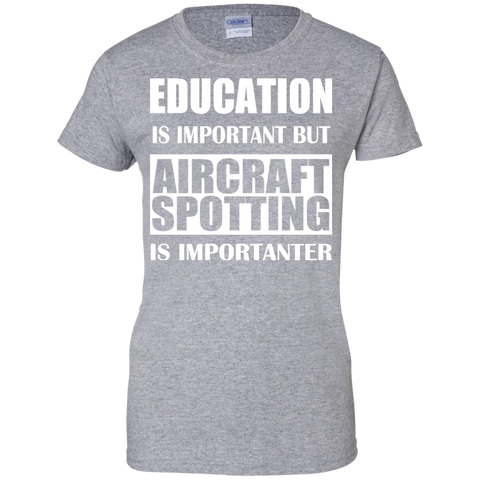 Education Is Important But Aircraft Spotting Is Importanter Ladies Tees