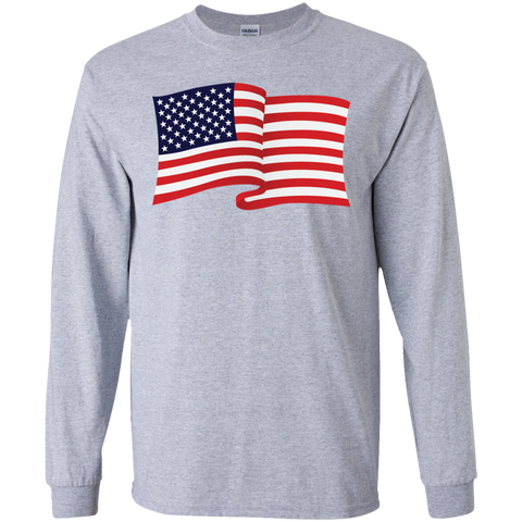 USA Flag In The Wind Show Your Pride Long Sleeve Tees
