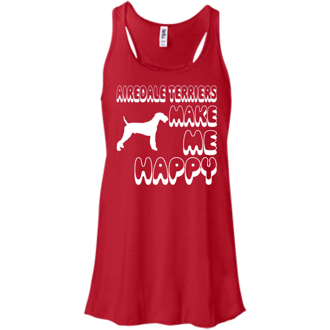 Airedale Terriers Make Me Happy Flowy Racerback Tanks