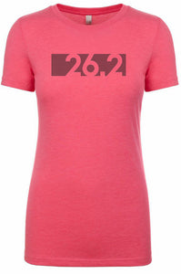 "Woman's short sleeve tshirt ""26.2 barcode"" black on pink by Endurance Apparel"