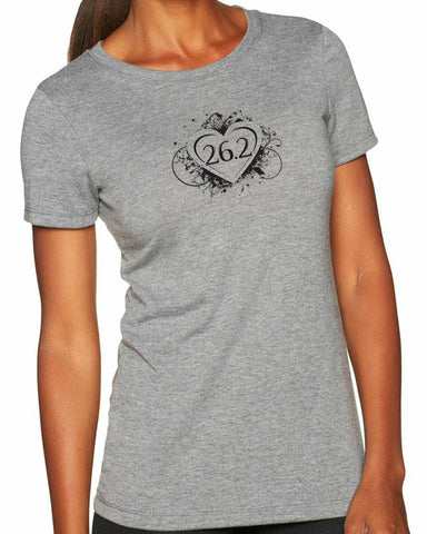 "Woman's short sleeve running tshirt ""26.2 heart""  by Endurance Apparel"