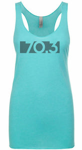 "Woman's triathlon racer back tank top ""70.3 BAR CODE"""