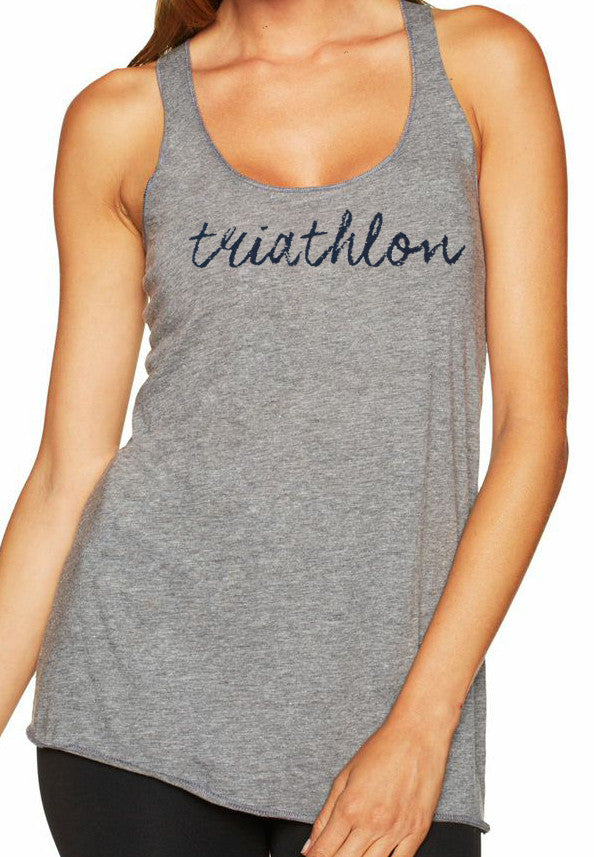 "Woman's racer back tank top ""triathlon"" navy on gray by Endurance Apparel"