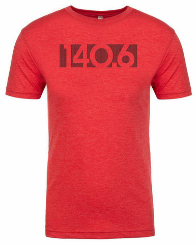"Ironman triathlon tshirt for men ""140.6 bar code"" Athletic Fit Short sleeve Red by Endurance Apparel"