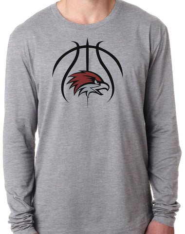 BASKETBALL HAWK HEAD Long Sleeve Unisex Tri-Blend T-Shirt