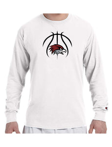 BASKETBALL HAWK HEAD Champion Brand Long Sleeve White