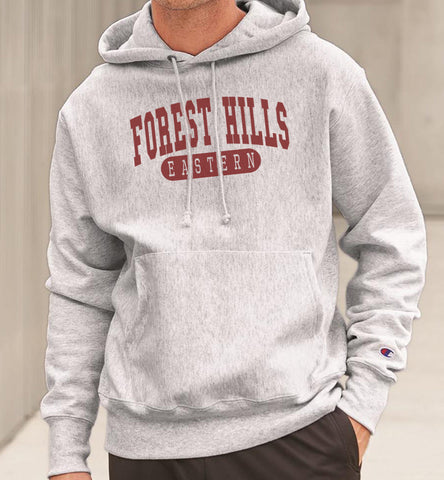 FOREST HILLS EASTERN in CRIMSON Reverse Weave Champion Hoodie Sweatshirt