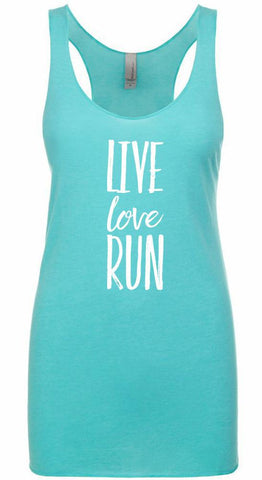 LIVE LOVE RUN Racer Back Tri-Blend Tank Top for Women
