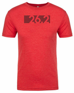 "Marathon tshirt for men ""26.2 Bar Code"" athletic fit short sleeve red by Endurance Apparel"