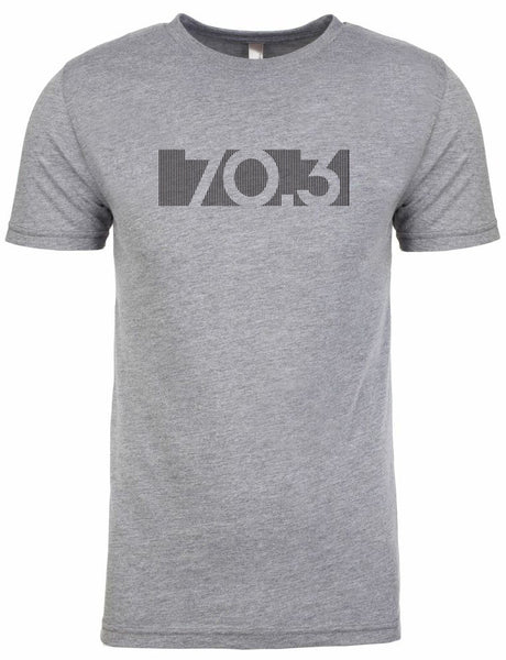"Half Ironman Tshirt For Men ""70.3 bar code"" Short Sleeve Athletic Fit Gray by Endurance Apparel"
