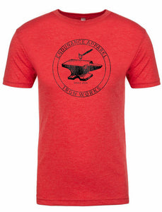 "Men's short sleeve tshirt ""Ironworks"" black on red by Endurance Apparel"