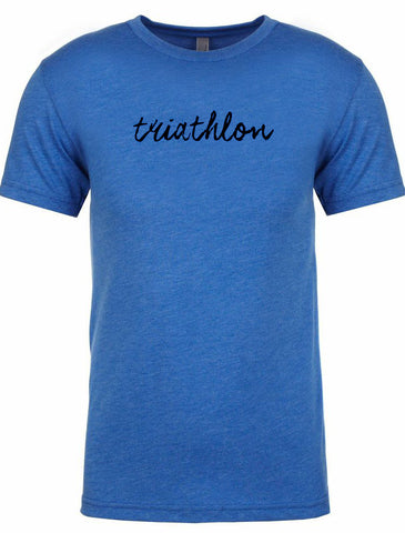 "Men's short sleeve tshirt ""triathlon"" black on blue by Endurance Apparel"