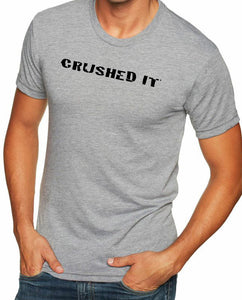 "Men's short sleeve triathlon tshirt ""crushed it"" black on grey by Endurance Apparel"