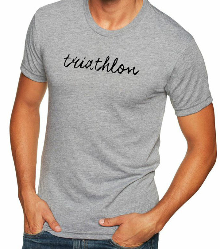 "Men's short sleeve tshirt ""triathlon"" black on gray by Endurance Apparel"