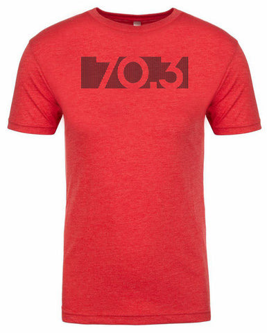 "Half Ironman Triathlon tshirt for Men ""70.3 bar code"" athletic fit short sleeve red by Endurance Apparel"
