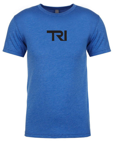 "Men's short sleeve triathlon tshirt ""TRI"" black on royal blue by Endurance Apparel"