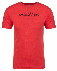 "Men's short sleeve triathlon tshirt ""triathlon"" black ink on red by Endurance Apparel"
