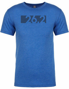 "Marathon tshirt for men ""26.2 bar code"" Athletic Fit Short Sleeve Royal Blue by Endurance Apparel"