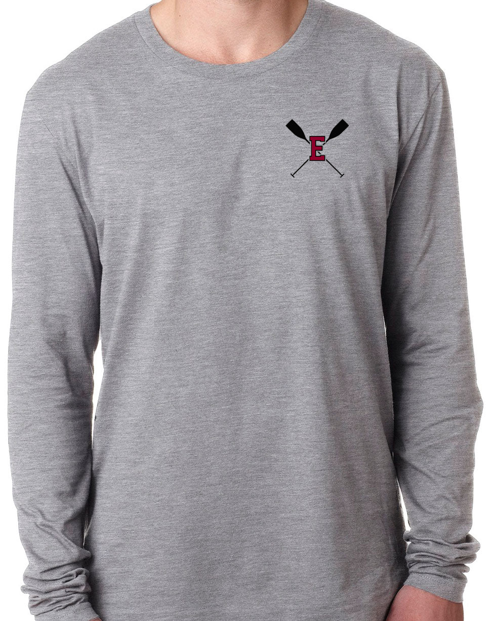 ROWING E OARS POCKET PRINT Long Sleeve Unisex Tri-Blend T-Shirt