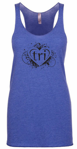 "Women's racer back triathlon tank top ""tri heart"""
