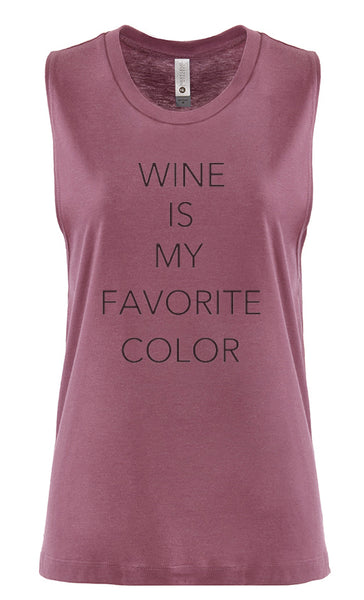 "Women's Sleeveless Workout Tee ""Wine is My Favorite Color"""