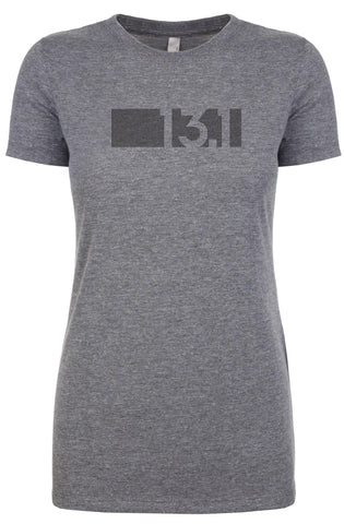 "Woman's short sleeve tshirt ""13.1 barcode"" black on grey by Endurance Apparel"