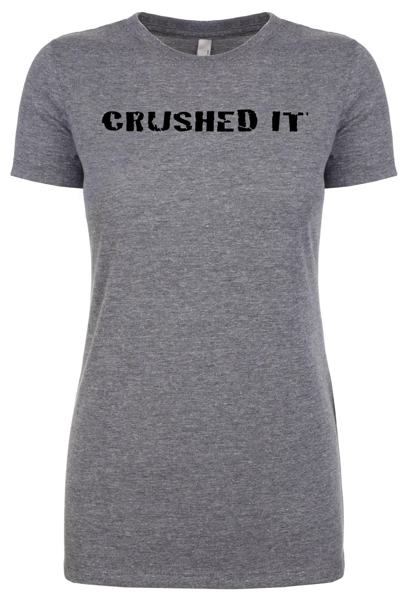 "Woman's short sleeve athletic tshirt ""crushed it"" by Endurance Apparel"