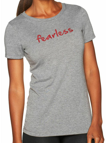 "Women's short sleeve tshirt ""fearless"" red on gray by Endurance Apparel"