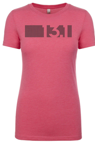 "Woman's short sleeve running tshirt ""13.1 barcode"" by Endurance Apparel"