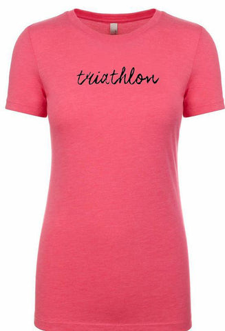 "Women's short sleeve tshirt ""triathlon"" black on melon by Endurance Apparel"