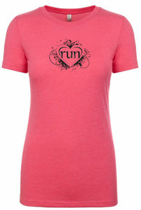 "Woman's short sleeve tshirt For Runner ""Run Heart"""