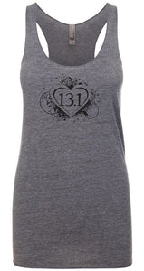 "Woman's racer back tank top ""13.1 heart"" black on gray by Endurance Apparel"