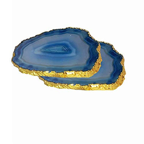 Natural Agate Coasters – Coffee, Tea, Drink Coaster - Set of 2 - Best Diwali Gift