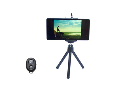 Combo Pack of a Mini Tripod, Mobile Holder and a Bluetooth Shutter