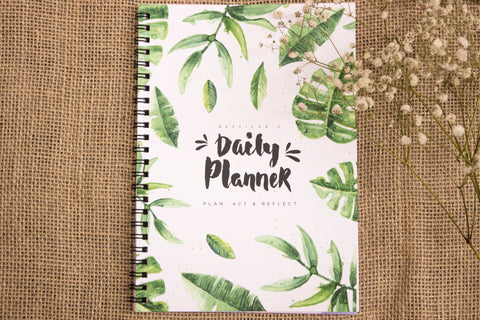 Nefficar Daily Planner - Guided Planning & Reflection - Beautiful Tropical Design - A5 Size