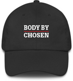 Body By Chosen Dad Cap (White/Red Logo)