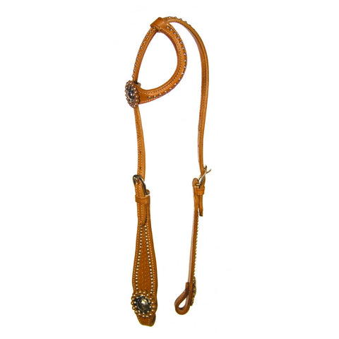 Buffalo Leather One Ear Headstall with Stainless Studs
