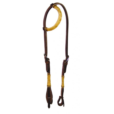 Buffalo Leather Rawhide One Ear Headstall With Quick Change Bit Ends