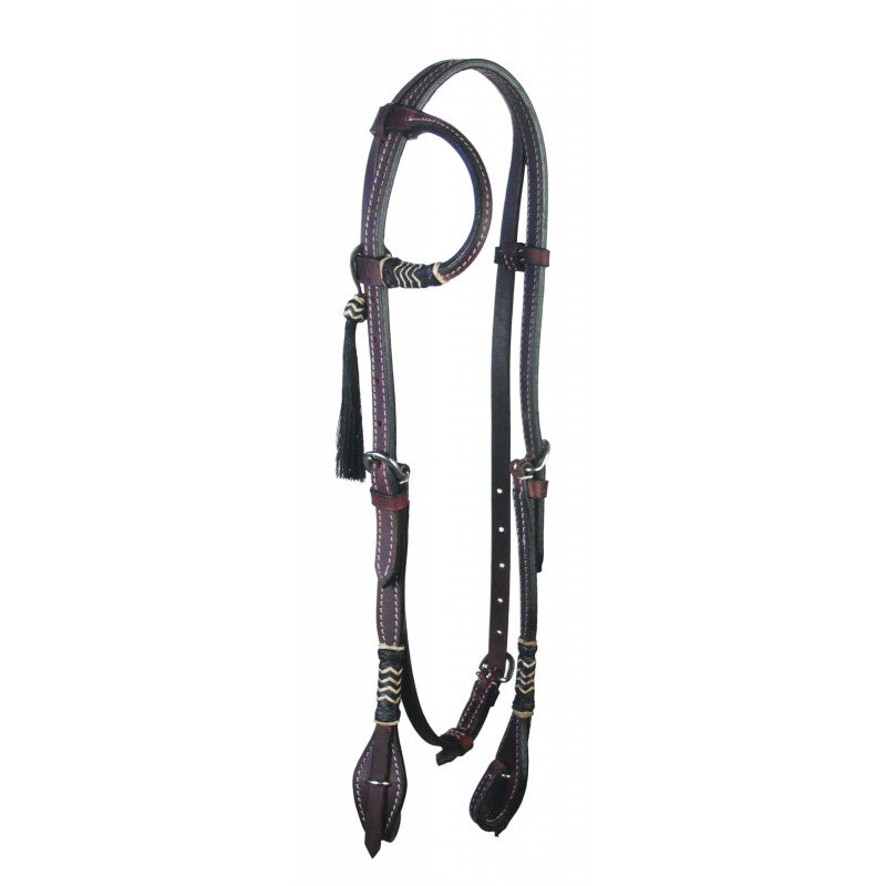 Buffalo Leather One Ear Headstall with Horsehair Tassel