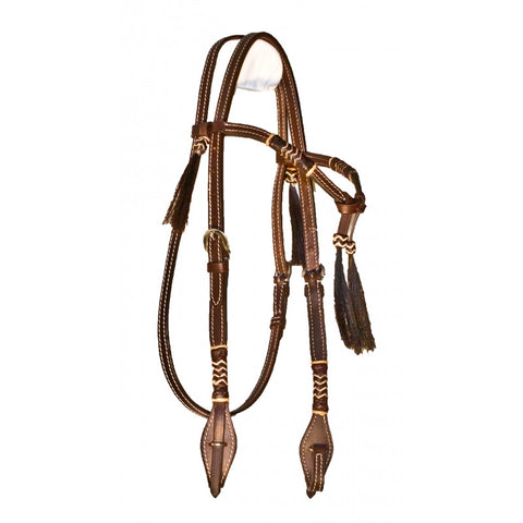 Buffalo Leather Rawhide Futurity Knot Headstall w/ Horsehair Tassels