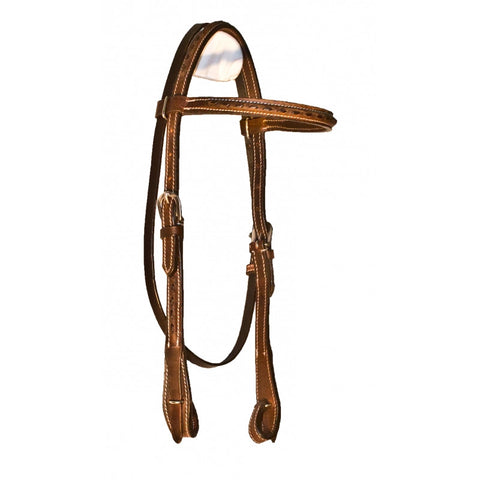 Buffalo Leather Buck Stitched Chocolate Brow-Band Headstall