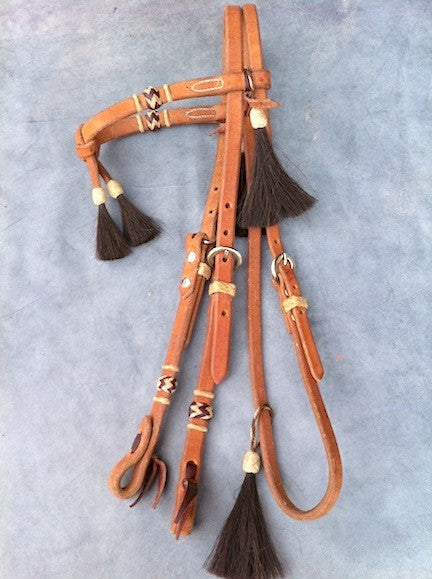Horse Hair Tassel Futurity Headstall by Buckaroo Leather