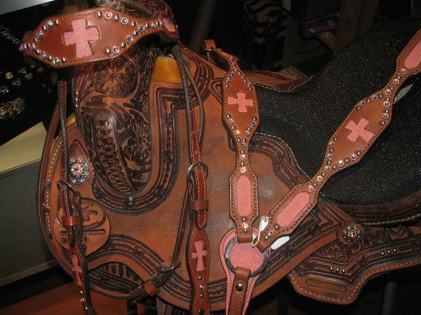 Alamo Saddlery Pink Stingray Cross Set