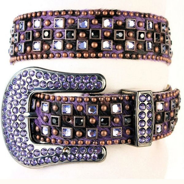 Kippys Belt - Crystal Clash on Hair Hide w/ Point Back Crystal Buckle