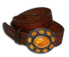 P Diamond Amber Bling Western Belt