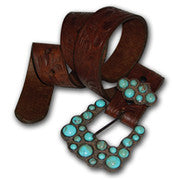 P Diamond Cowgirl Turquoise Dot Buckle Western Belt Size 32