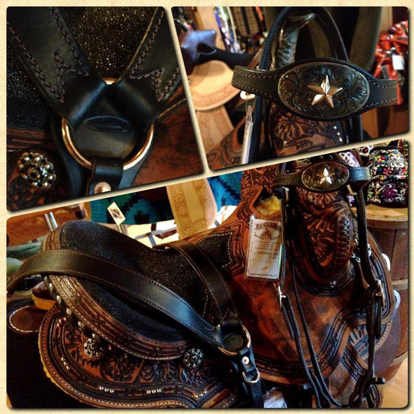 Black Buckaroo Custom Star Headstall & Matching Breast Collar Set