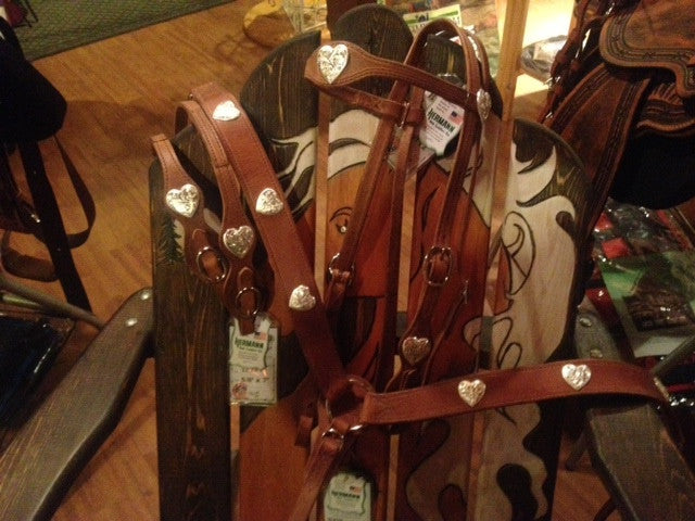Custom Harness Leather Headstall, Breast Collar and Split Reins with Hand Engraved Silver Hearts by Buckaroo
