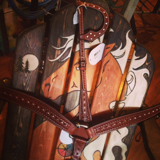 One Ear Crystal Headstall & Breast Collar Set from Buffalo Leather