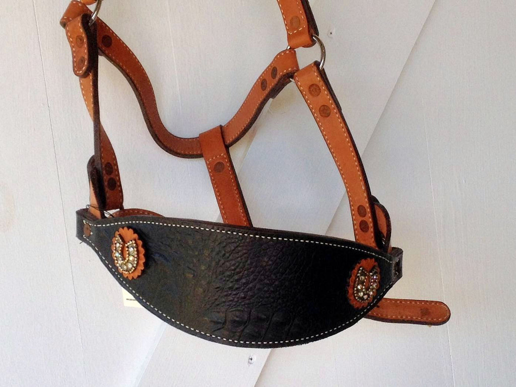 Jewelry on Tack Gator Bronc Halter with Swarovski Crystal Horseshoe Conchos